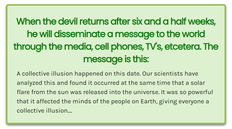 A Collective Illusion – warning the devil will try and trick you